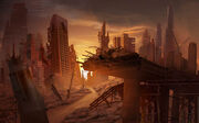 Abandoned City Matte Painting by MarcoBucci