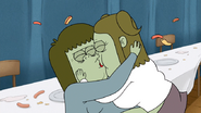 S4E34.175 Muscle Man and Starla Kissing While Hot Dog Rains Down