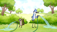 S6E06.001 Mordecai and Rigby Watering the Lawn