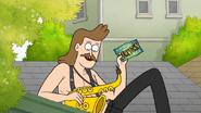 S7E01.050 Sad Sax Guy Holding a Dumptown USA Postcard 01