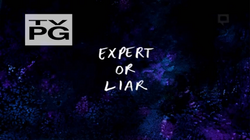 S5E28Expert or Liar Title Card