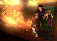 Derek and Odette save Alise and her weak father from the flames
