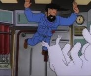 Captain haddock and snowy flying