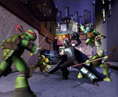 Nickelodeon-Cast-Of-Teenage-Mutant-Ninja-Turtles-Leonardo-Donatello-Michelangelo-Raphael-Fight-Battle-Shredder-In-Alley-CGI-Anim