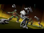 Leo and Raph fighting the Mousers