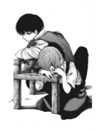 Touka and Kaneki on chair cover