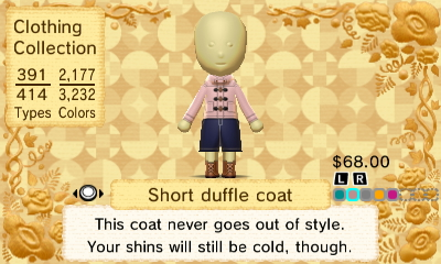 Image - Short duffle coat 2.JPG   Tomodachi Life Wiki   Fandom