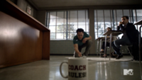 Teen Wolf Season 3 Episode 2 Orny Adams Bobby Finstock teaches quarters