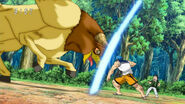 Toriko blocking Ox Chicken attack with Fork Shield