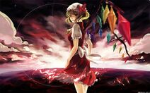 Blondes touhou wings red eyes ponytails flandre scarlet skyscapes hats anime girls 1280x800 wallp www.wallpaperno.com 94