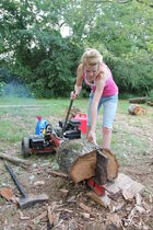 Splitting logs with a gas powered log splitter