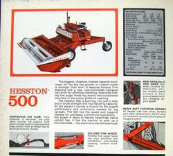 Hesston 500 swather brochure
