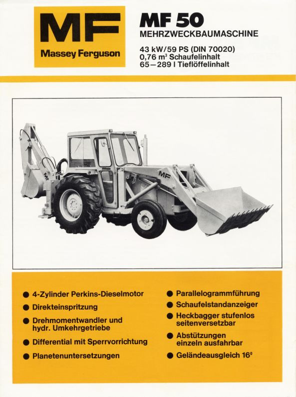 Mf 50 Parts : Massey ferguson backhoe tractor construction plant