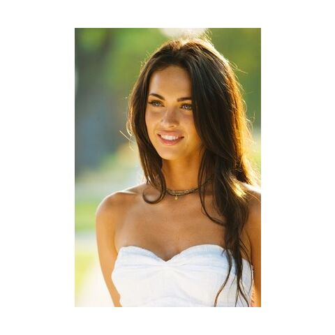 Promotional Image of Mikaela Banes wearing her strapless white dress in <i>Revenge of the Fallen</i>.