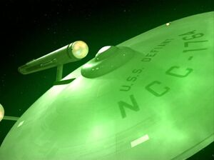 USS Defiant undergoing interphase, remastered