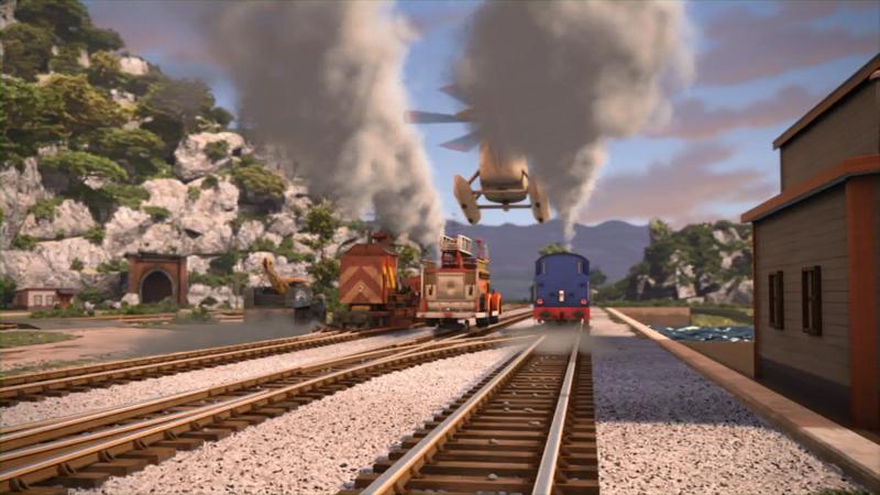 ロッキーを牽引しているトーマスとフリンとベルとハロルドとキャプテンと一緒に居るブッチ