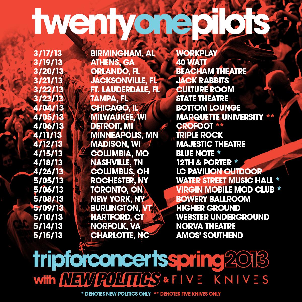 Twenty one pilots tour dates