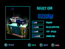 Twisted Metal - Small Brawl - Outlaw carsel