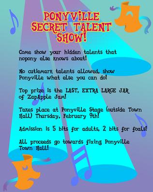 Mlpfim ponyville talent show flyer by the gneech-d4op0sp