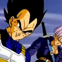 Future Trunks next to Vegeta in <i>Super Android 13!</i>