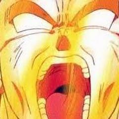 Goku finalizes his transformation into Super Saiyan