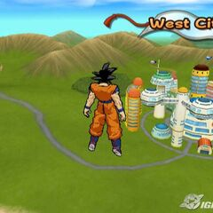 Goku above West City