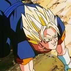 Vegito gets annoyed with Super Buu.