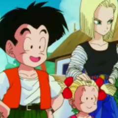 Android 18, Marron, and Krillin at the 25th World Tournament