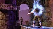 Nate shooting blue fire demon