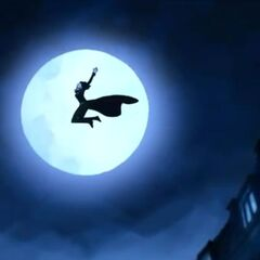 Selene jumping off a roof.
