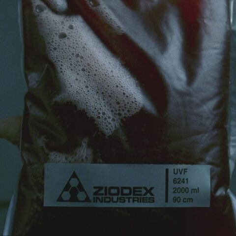 A bag of synthetic blood made by Ziodex Industries.