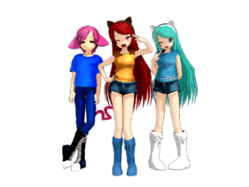 Group full body shot MMD