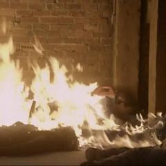 Basement lit on fire
