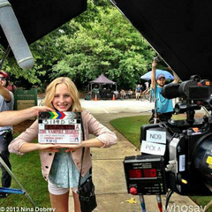 Candice on set