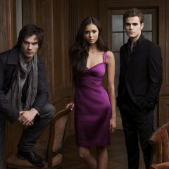 Elena, Stefan, Damon in Greystone Manor Promo