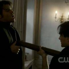 Damon staking Elijah