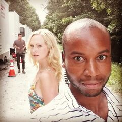 Candice Accola behind the scenes
