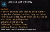Attuning dust energy