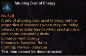 Attuning dust energy