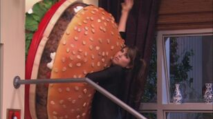 Trina can't fit her boobs in the burger
