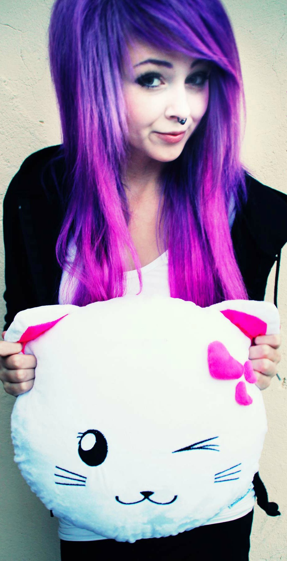 image sarah sorceress cat pillow kitty kissen scene girl purple lila pink hair haare. Black Bedroom Furniture Sets. Home Design Ideas