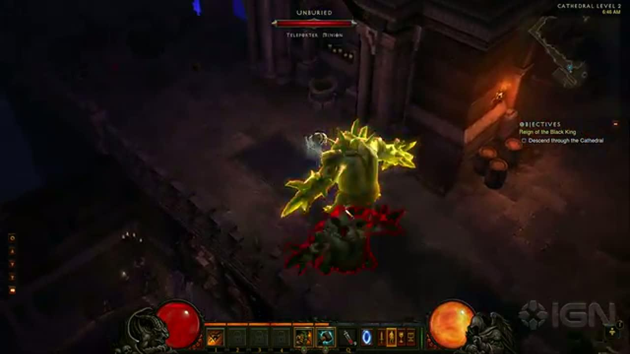 Diablo III - Barbarian Class - Cathedral Level 2 Gameplay