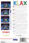 Klax Master System reverso