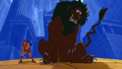 Hercules beat up Nemean Lion