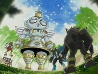 BlackWarGreymon confronting DNA Digimon Trio