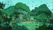 The changeling army surrounding the village