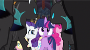The changelings advances on Twilight and her friends