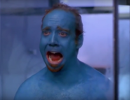 Wolf screams as she sees his skin dyed blue