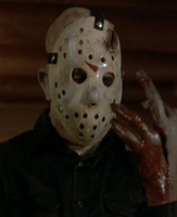 Jason in Friday the 13th part 4 after being stabbed in the hand with a machete