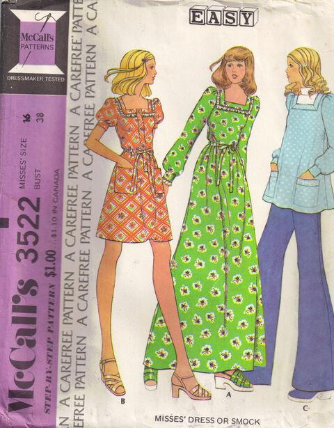 C1973 3522 McCalls Smock Dress